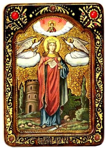 Инкрустированная живописная икона Святая великомученица Варвара Илиопольская 29х21см на натуральном кипарисе в подарочной коробке
