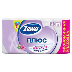 Бумага туалетная Zewa-Plus Сирень 2сл бел втор втул 23м 184л 8рул/уп 144105