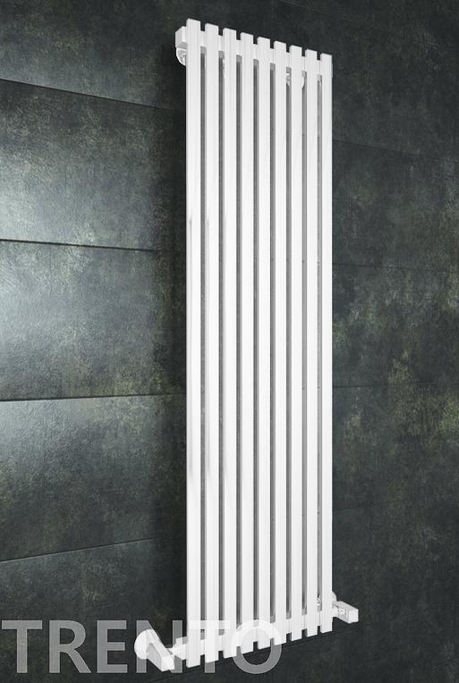 Trento E - белый дизайн полотенцесушитель с прямоугольными вертикалями.
