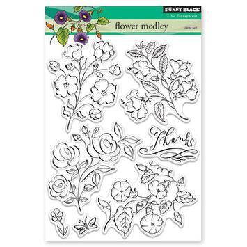 Набор силиконовых штампов  - flower medley