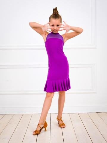 Платье для танцев с сеткой и воланом арт.233