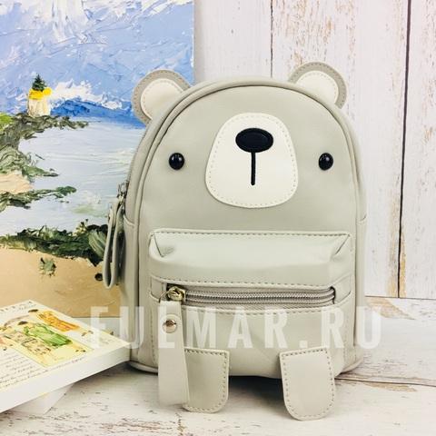 Детский маленький рюкзак для девочки Мишка Серый