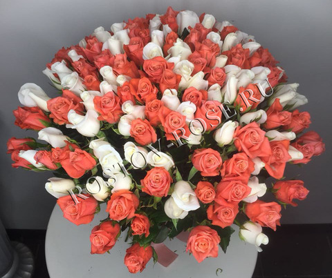 Букет 101 роза кораллово-белый микс