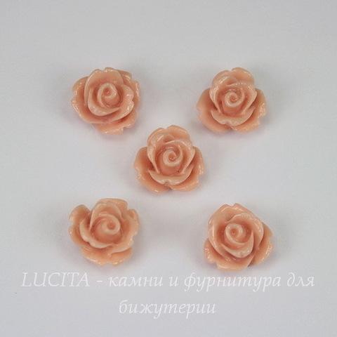 """Кабошон акриловый """"Розочка"""", цвет - пепельно-розовый, 10 мм, 5 штук"""