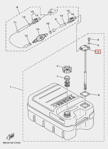 Коннектор с измерителем топлива для лодочного мотора F20 Sea-PRO (25-3)