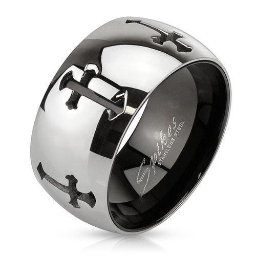 Широкое кольцо с крестами SPIKES R-M3289
