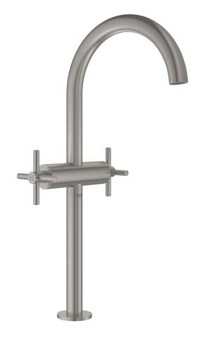 Atrio New Смеситель двухвентильный для раковины на 1 отверстие, для свободностоящих раковин, крестобразные ручки, размер XL, СуперСталь