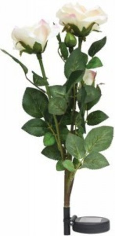 Светильник на солнечной батарее «Ветка розы», белый, 3 LED (белый), H 80cм , PL308 (Feron)