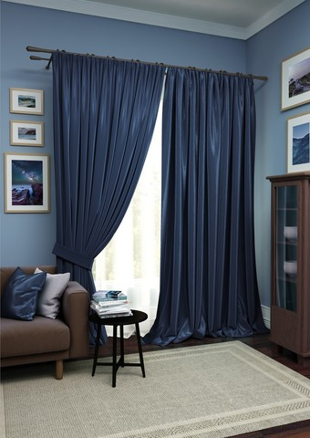 Комплект штор Авери с тюлем темно-синий