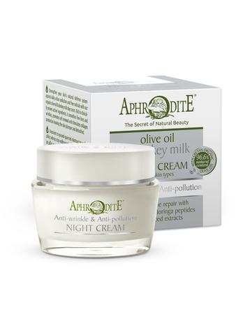 Омолаживающий защитный ночной крем для лица с молоком ослиц Aphrodite 50 мл