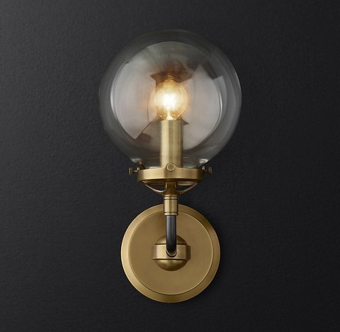 Bistro Globe Clear Glass Single Sconce