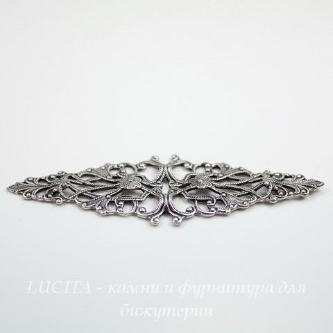 Винтажный декоративный элемент - филигрань 64х21 мм (оксид серебра) ()