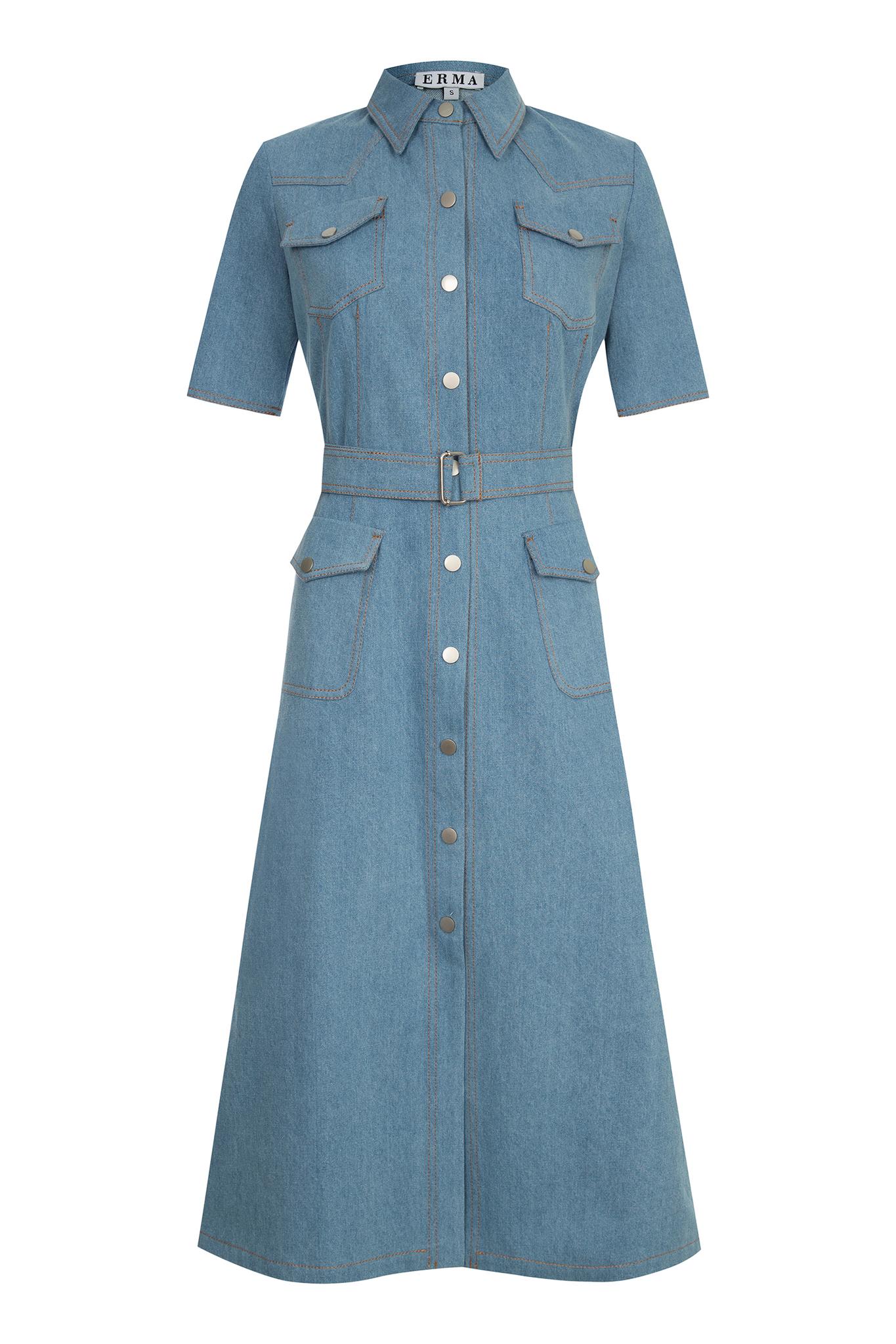 Джинсовое платье с коротким рукавом (SS0258)