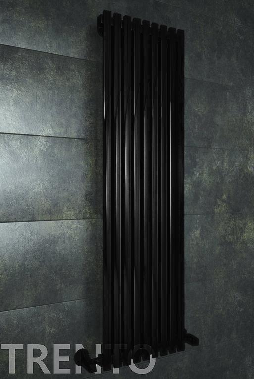 Trento E - черный дизайн полотенцесушитель с прямоугольными вертикалями.