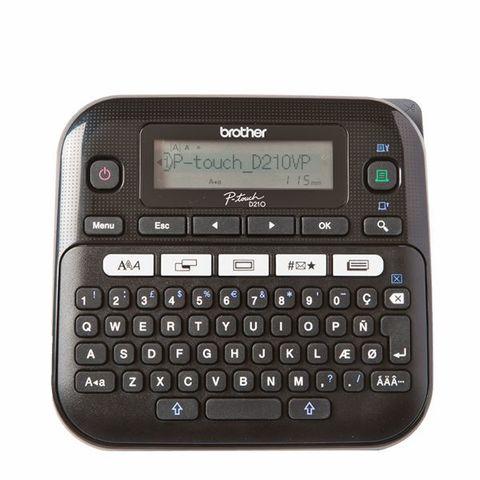 Принтер для печати наклеек Brother PT-D210VP - переносной, oт 3,5 до 12 мм, 20 мм/сек, 180 т/д, однострочный, кейс+БП, ленты TZE (PTD210VPR1)