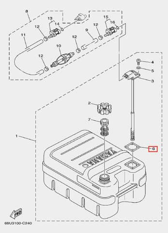 Прокладка коннектора для лодочного мотора F20 Sea-PRO (25-6)