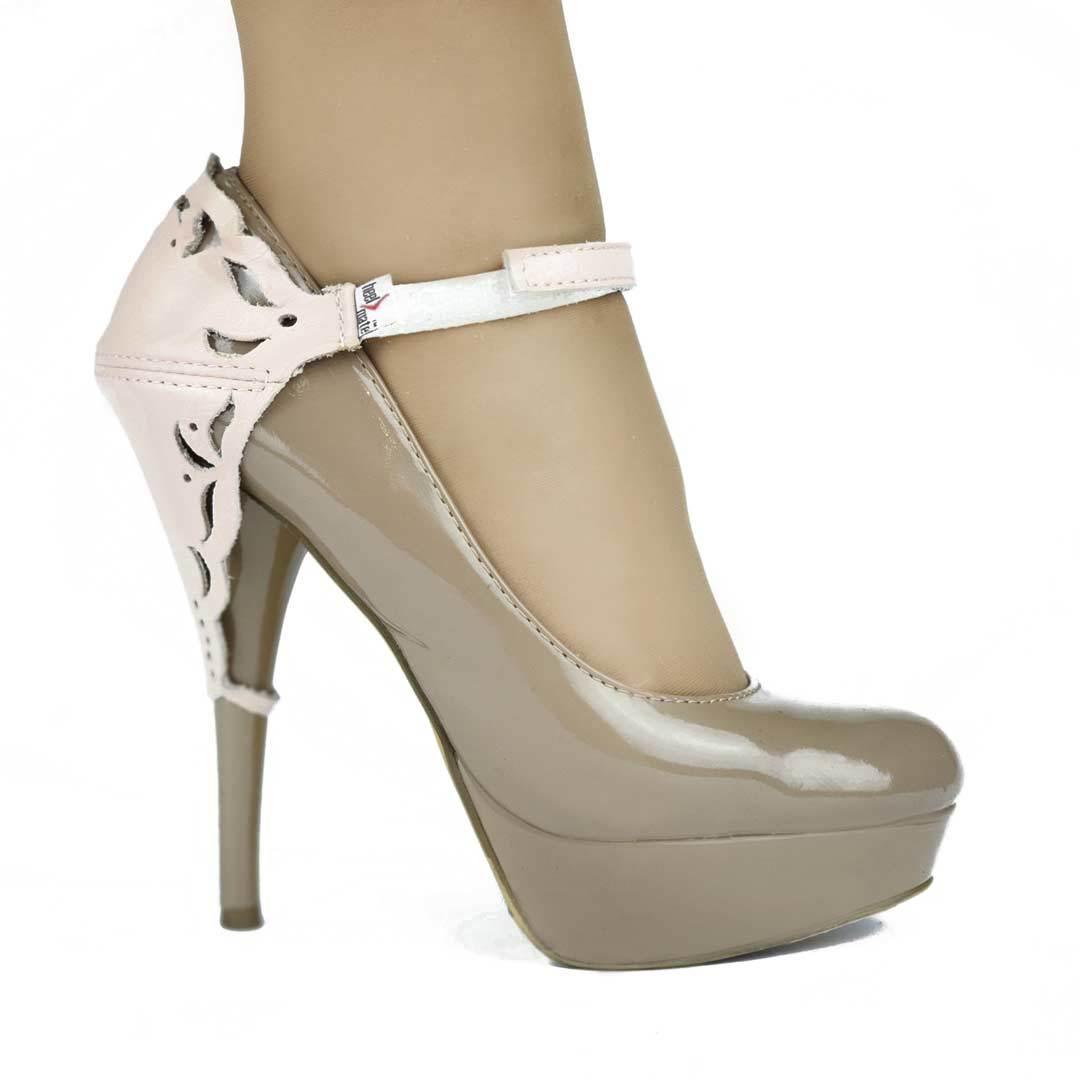 Автопятка для женской обуви на каблуке розовая с узорами