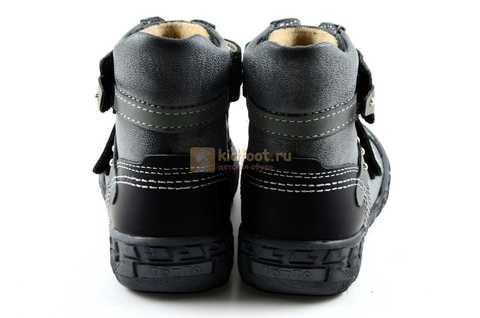 Ботинки Тотто из натуральной кожи демисезонные на байке для мальчиков, цвет черный. Изображение 7 из 10.