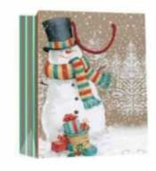 Пакет подарочный Снеговик в шарфе (M KRAFT) СШ-0163