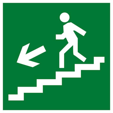 Эвакуационный знак Е 14 - Направление к эвакуационному выходу по лестнице вниз налево