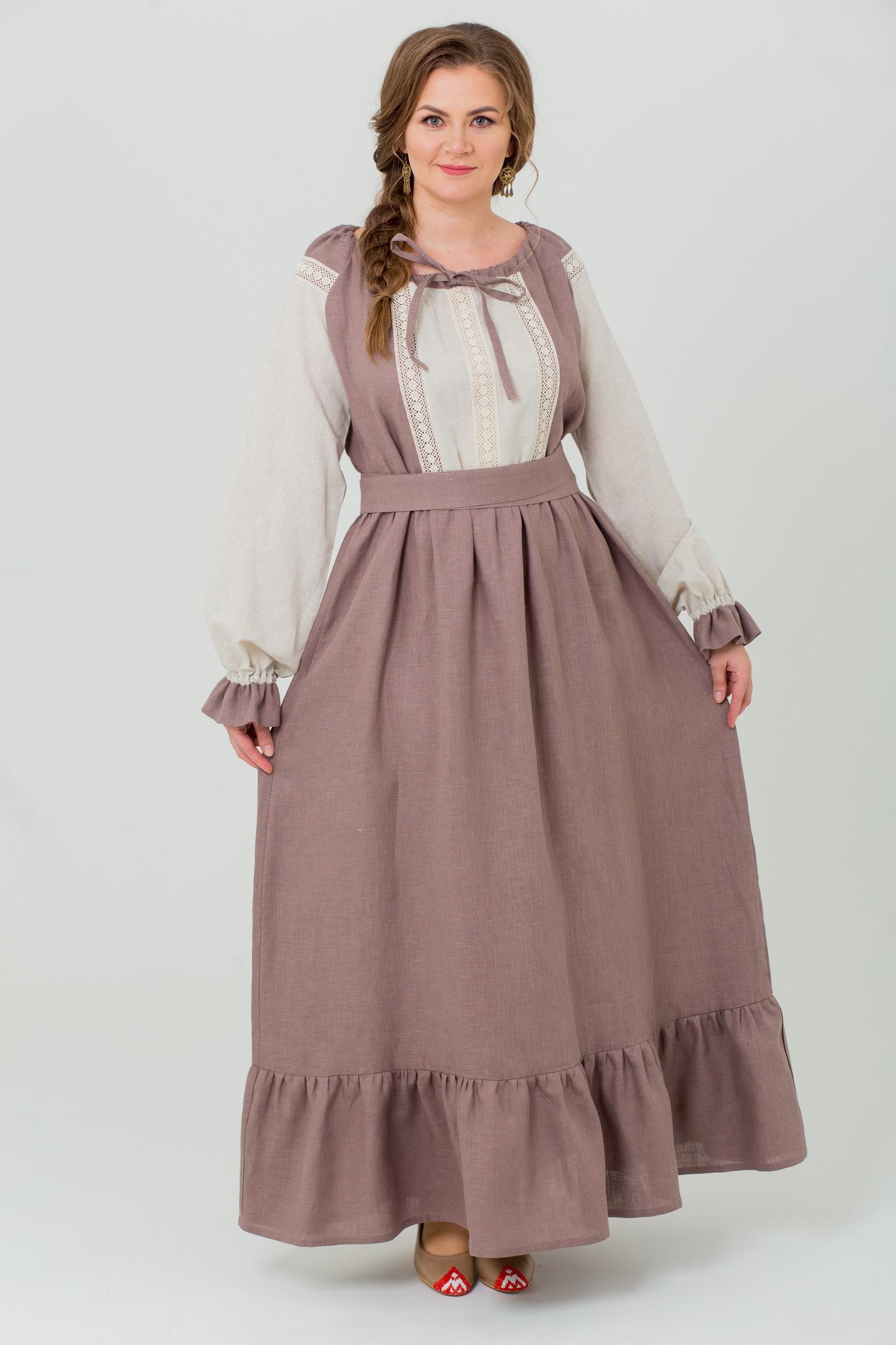 Платье льняное Тихий вечер в русском стиле
