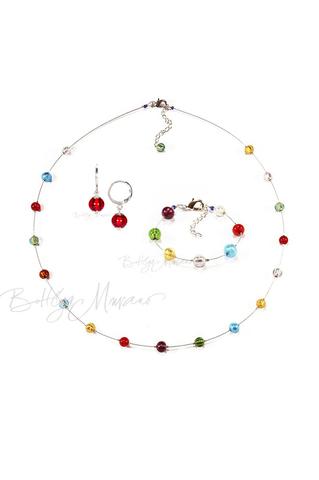 Комплект Estate серебристый (серьги красные Piccolo, ожерелье длинное, браслет)