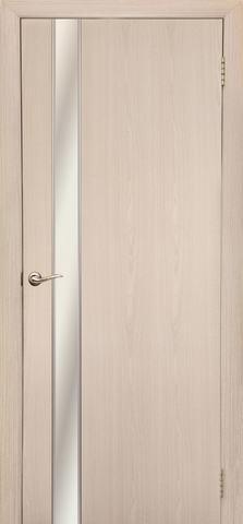 Дверь Дубрава Сибирь Маэстро, зеркало с рисунком/молдинг серебро, цвет беленый дуб, остекленная
