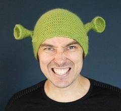 Шрек шапочка зеленая с ушками