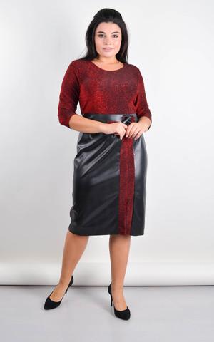 Лидия. Платье плюс сайз для праздника. Красный.