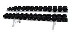 Гантельный ряд обрезиненный, от 11 до 43,5кг, шаг 2,5 кг (14 пар), на двухъярусном стеллаже (на 14 пар) длиной 310 см