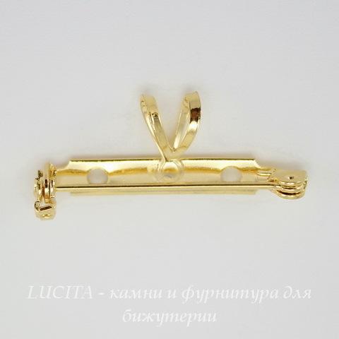 Винтажная основа для броши 33х5 мм с двойной петелькой 7 мм (цвет - золото) ()