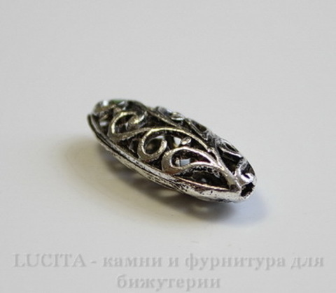 """Бусина металлическая """"Ажурный овал"""" 23х9 мм (цвет - античное серебро)"""