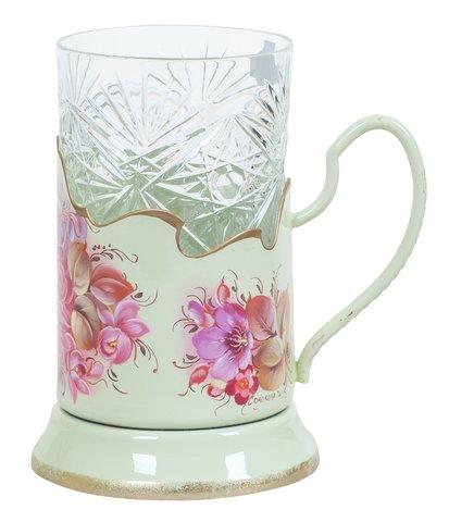 带艺术绘画的水晶玻璃杯+杯托 绿松石 PODS010219002