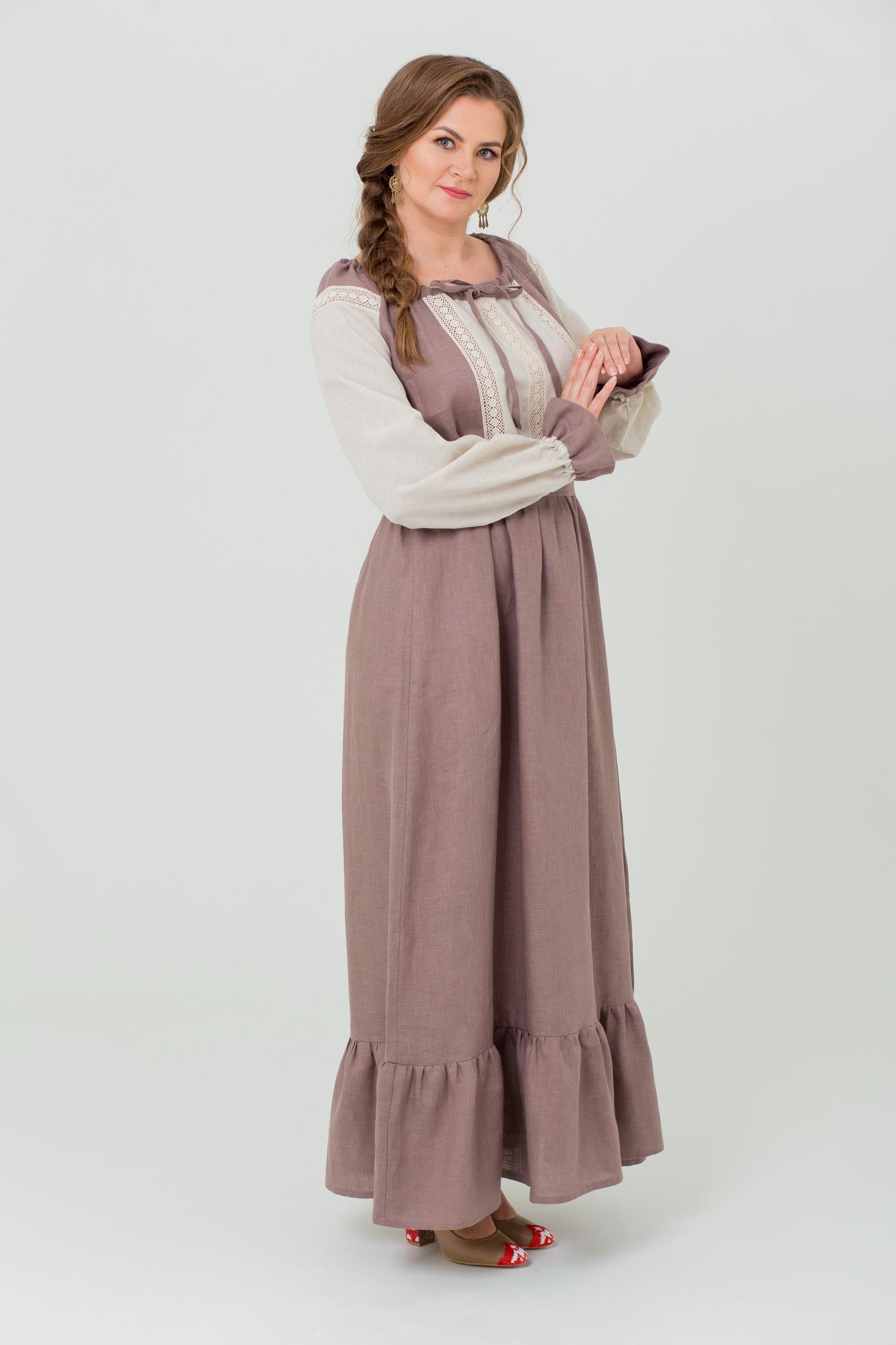 Льняное платье в пол традиционное Тихий вечер купить