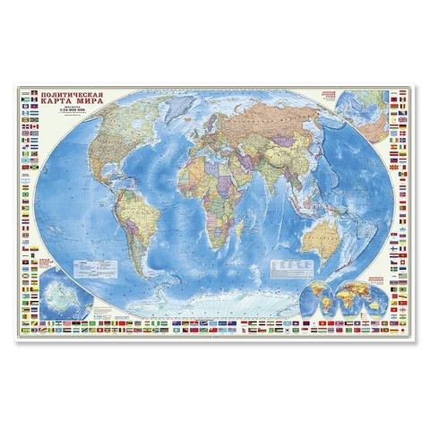 Политическая карта мира с флагами 124x80