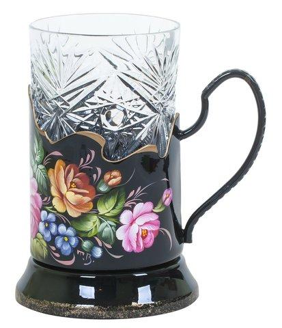 带艺术绘画的水晶玻璃杯+杯托 绿松石 PODS010219003