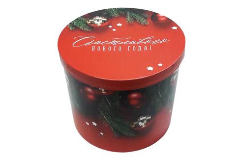 Подарочная коробка круглая красная
