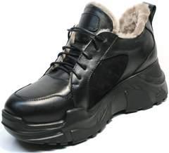 Черные кожаные кроссовки с натуральным мехом женские зимние Studio27 547c All Black.