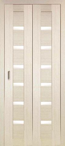 > Экошпон складная Optima Porte Турин 507.12  (2 полотна), стекло матовое, цвет беленый дуб, остекленная