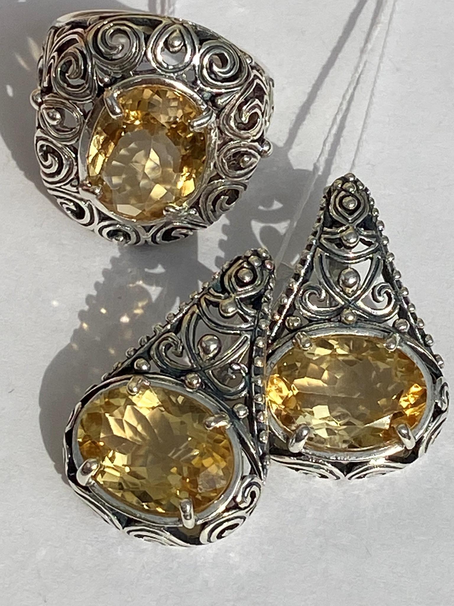 3176-цитрин(кольцо + серьги из серебра)