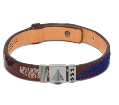 Кожаный браслет Northskull Abstract Camo Bracelet in Burgundy and Gunmetal