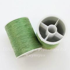 Нить металлизированная для вышивки бисером, 0,1 мм, цвет - оливковый, примерно 55 м