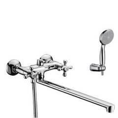 Смеситель для ванны и душа Lemark Standard LM2112C двухвентильный, с лейкой и шлангом, настенное крепление, хром