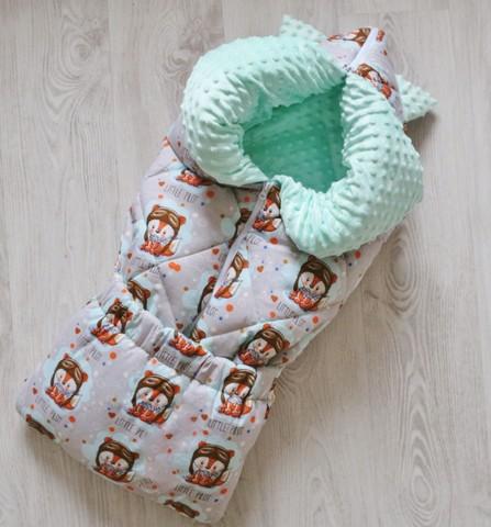 Зимнее одеяло - конверт - трансформер на выписку Маленький пилот