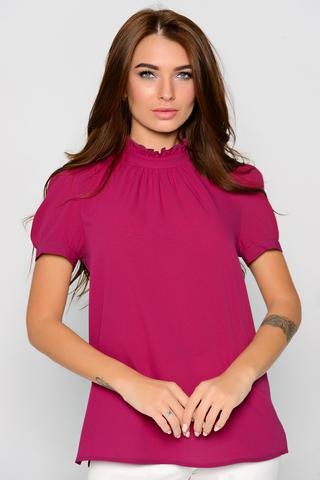 """Модная блузка для современной особы. Отличный деловой вариант. Ворот """"стойка"""" с рюшей. Рукав короткий на манжете."""