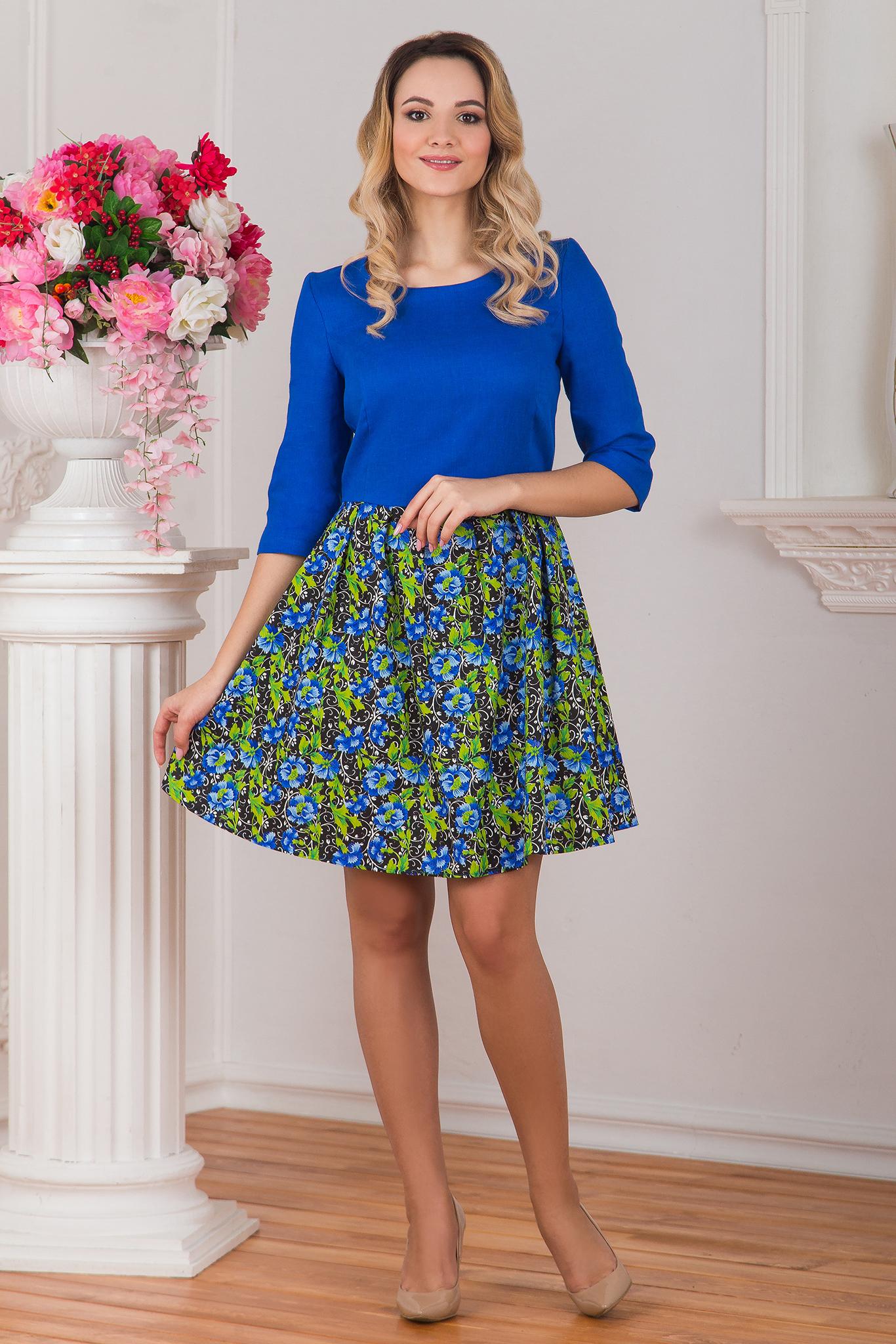 Платье льняное Васильки