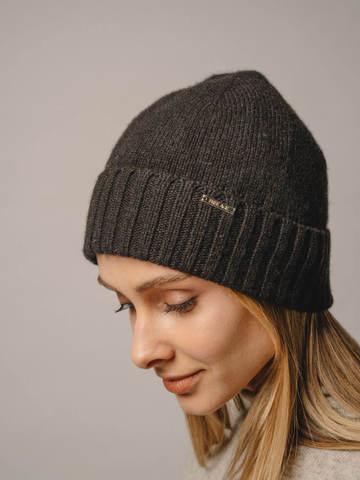 Женская шапка черного цвета из 100% кашемира - фото 4