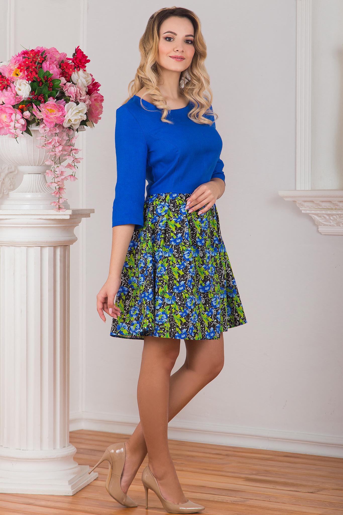 Платье льняное Васильки вид сбоку
