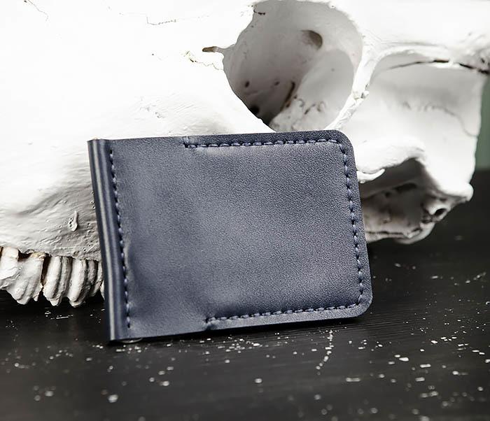 WB178-3 Зажим для денег ручной работы из синей кожи фото 01