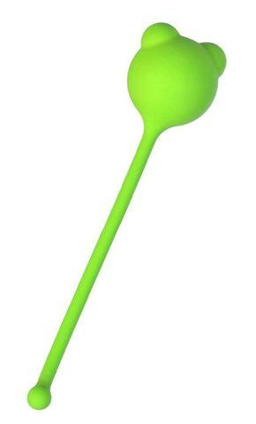 Зеленый силиконовый вагинальный шарик A-Toys с ушками